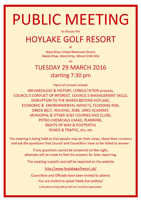 Hoylake Golf Resort meeting flyer