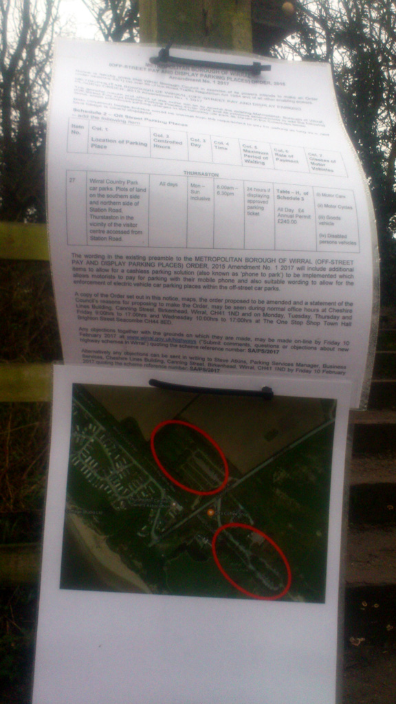 Wirral Council Parking Charge Notice Thurstaston Country Park 2017