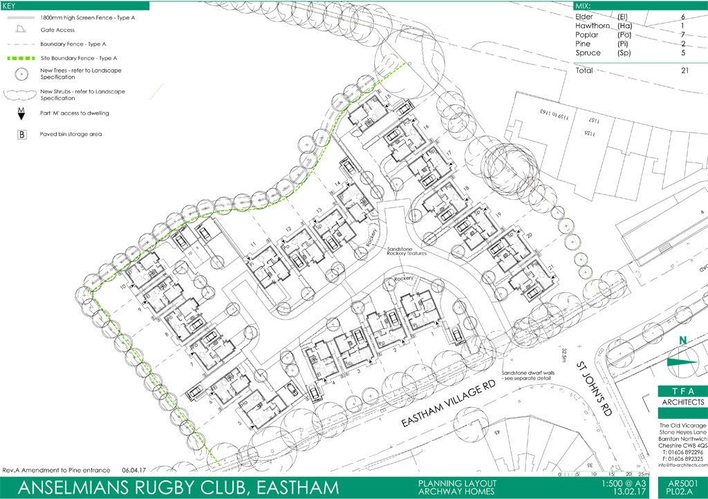 Proposed new housing at Eastam Village